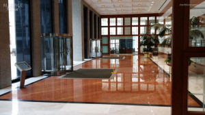 Commercial Lobby, Polished Marble and Granite Floor - Scope of work: grind floor flat, sand, polish and protect floor with a two-step penetrating sealer.