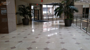 Commercial Lobby, Polished Marble and Granite Floor - Scope of work: sand and polish marble, sand and hone granite plus protect floor with a penetrating sealer.