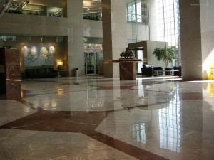 Commercial Lobby, Polished Floor - Scope of work: Polished marble floor. Grind floor flat, sand and polish plus protect floor with a two-step penetrating sealer.