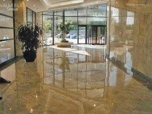 Commercial Lobby, Polished Marble Floor - Scope of work: sand, polish and protect floor with a penetrating sealer.